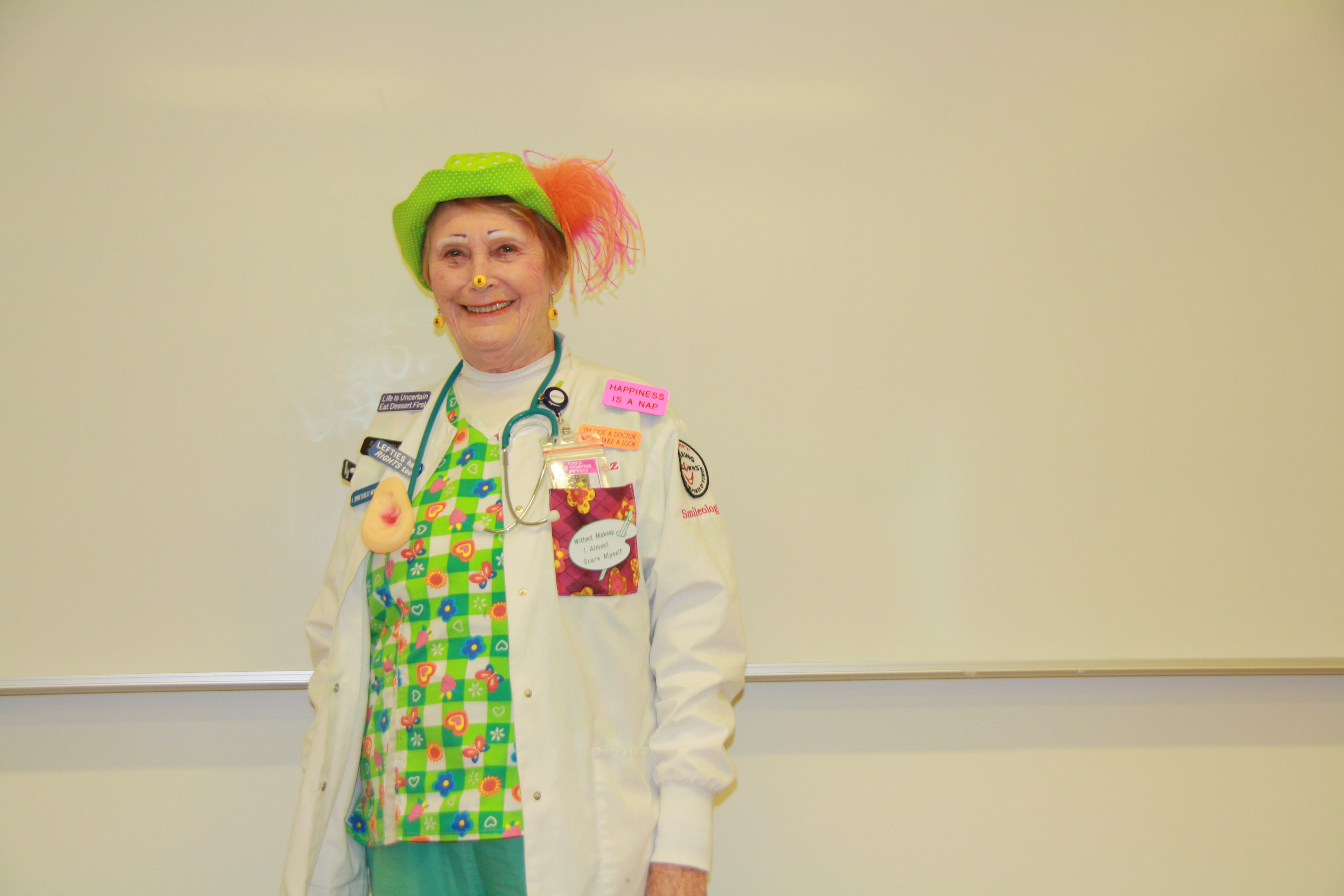 DR Clown with green hat.