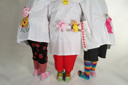 Fun DR Clowns showing off their fun footwear.