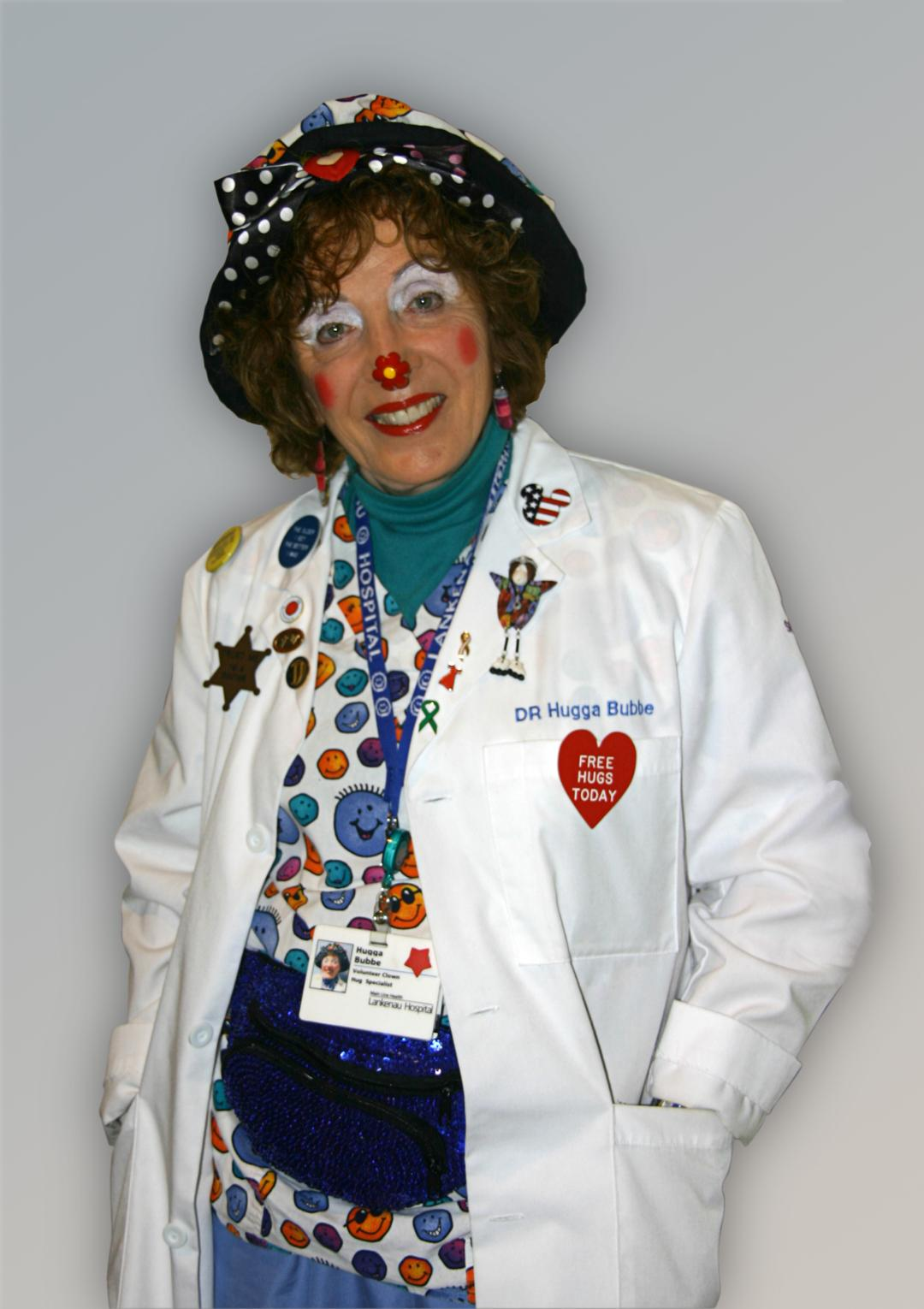 Clown with colorful shirt.