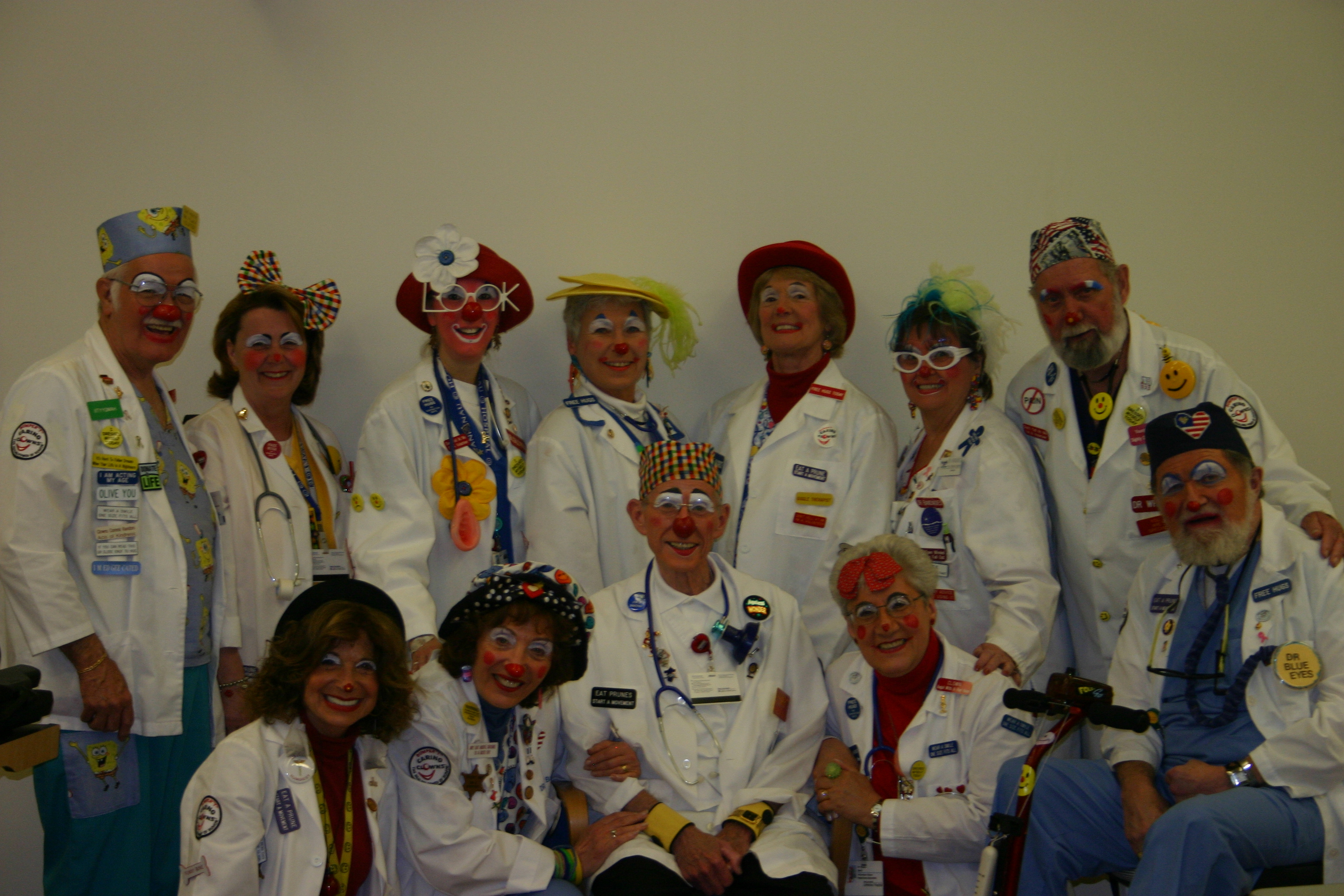 "Group of DR Clowns with DR Bumper ""T"" Clown in the middle."